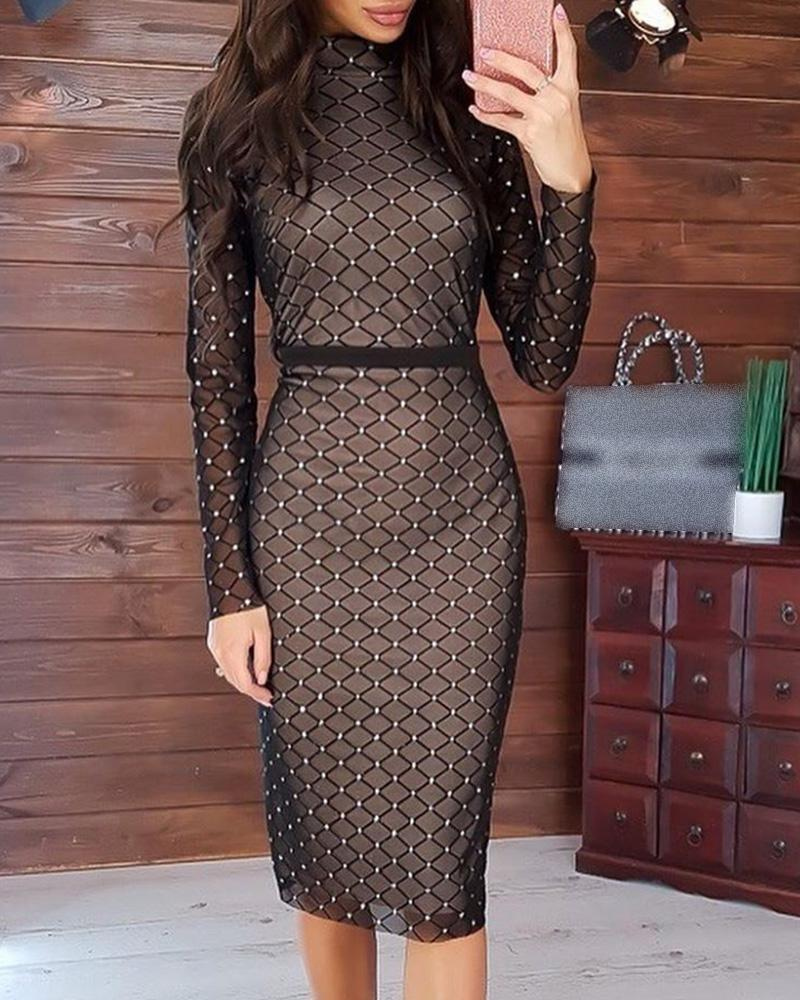 Hot Stamping Mock Neck Plaid Long Sleeve Bodycon Dress