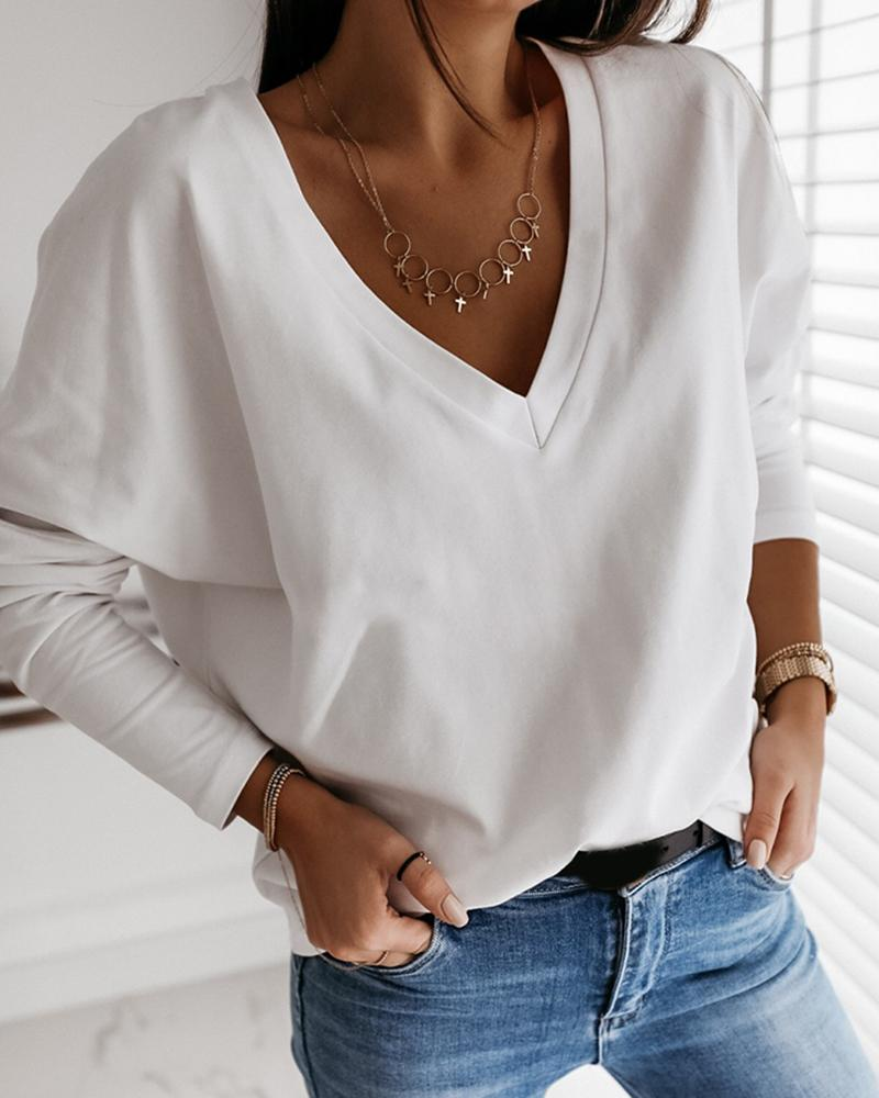 Solid Long Sleeve Casual Top