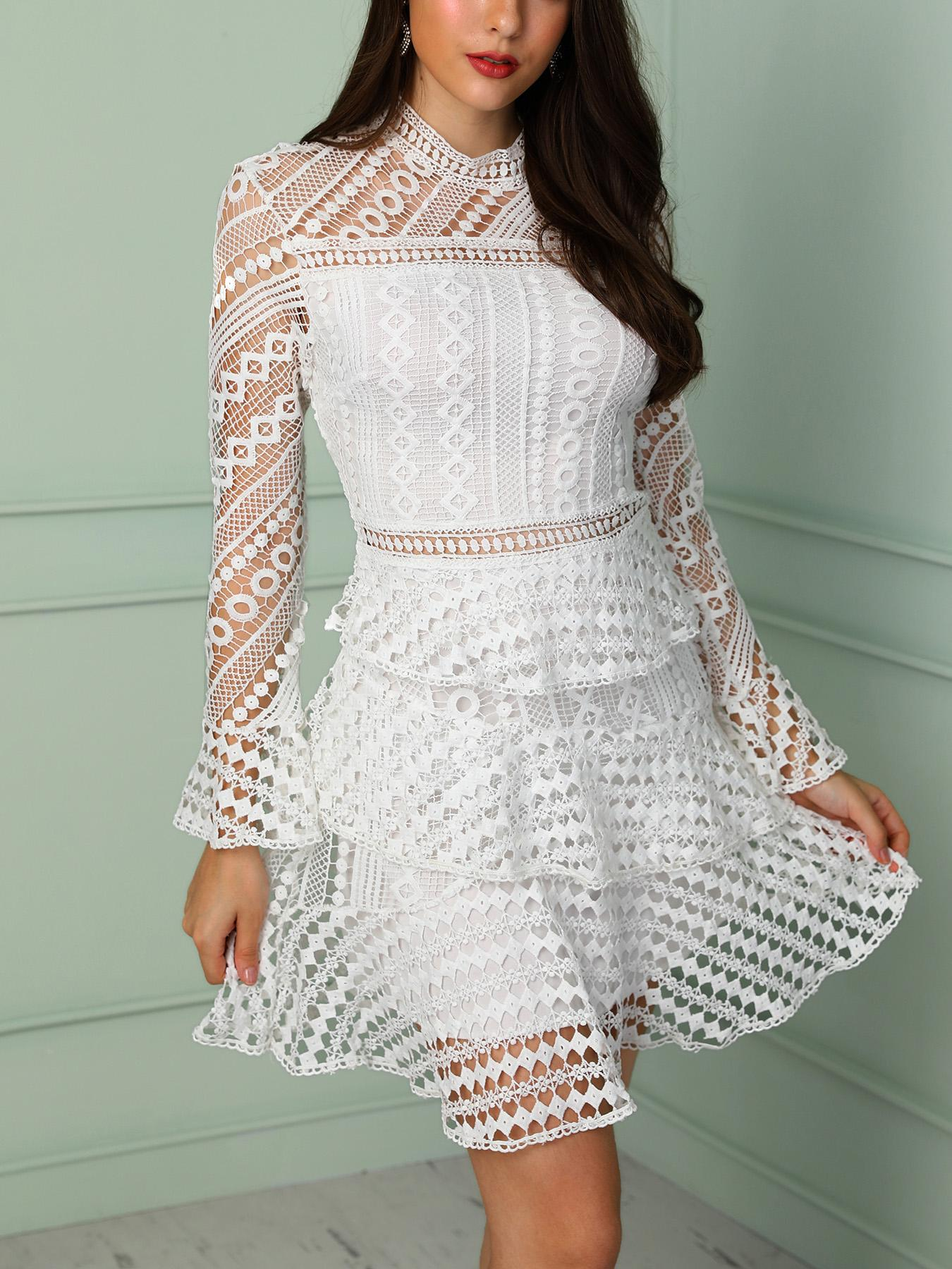 Solid Hollow Out Lace Pleated Dress