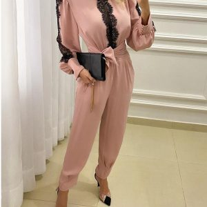 Eyelash Lace Knotted Ruched Backless Jumpsuit