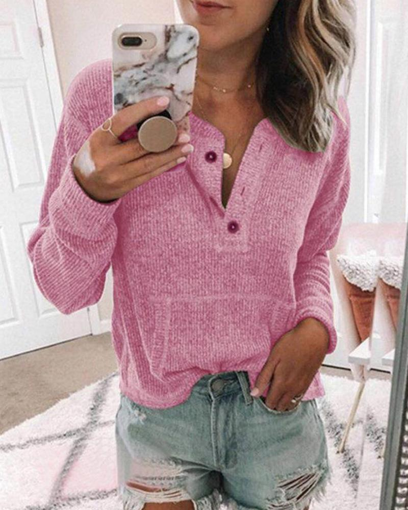 Ribbed Button Neck Casual Top