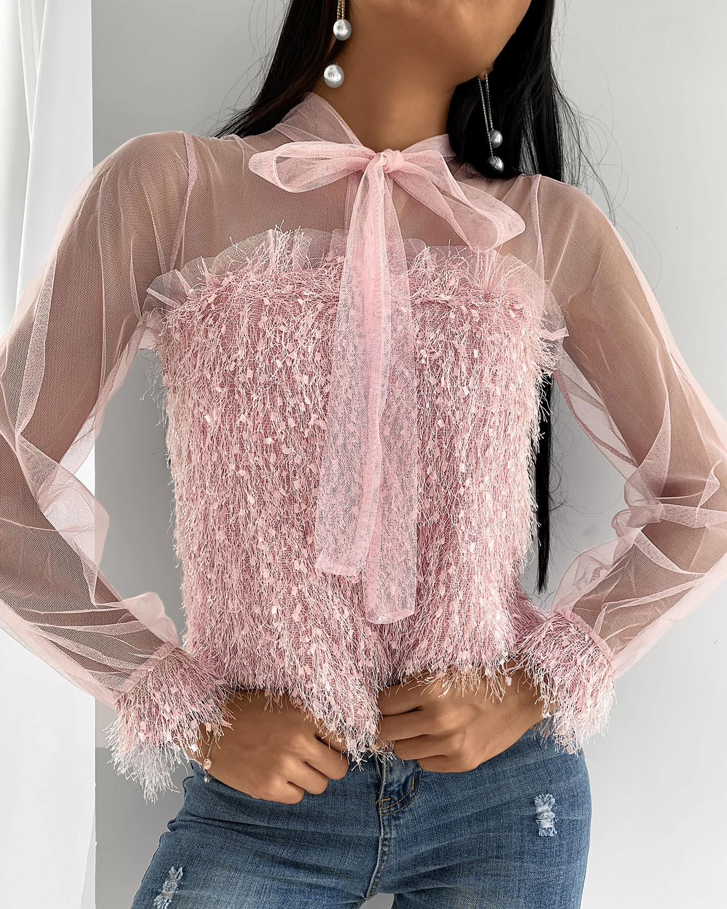 Fluffy Sheer Mesh Tie Front Long Sleeve Top