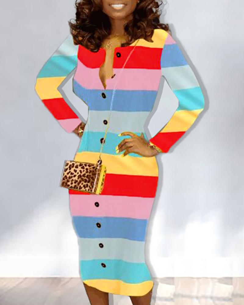 Rainbow Striped Long Sleeve Dress
