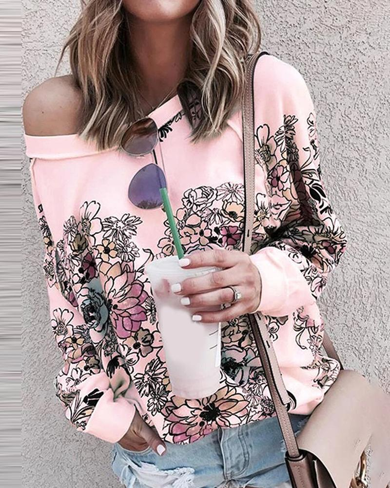 Floral Print Long Sleeve Casual Top