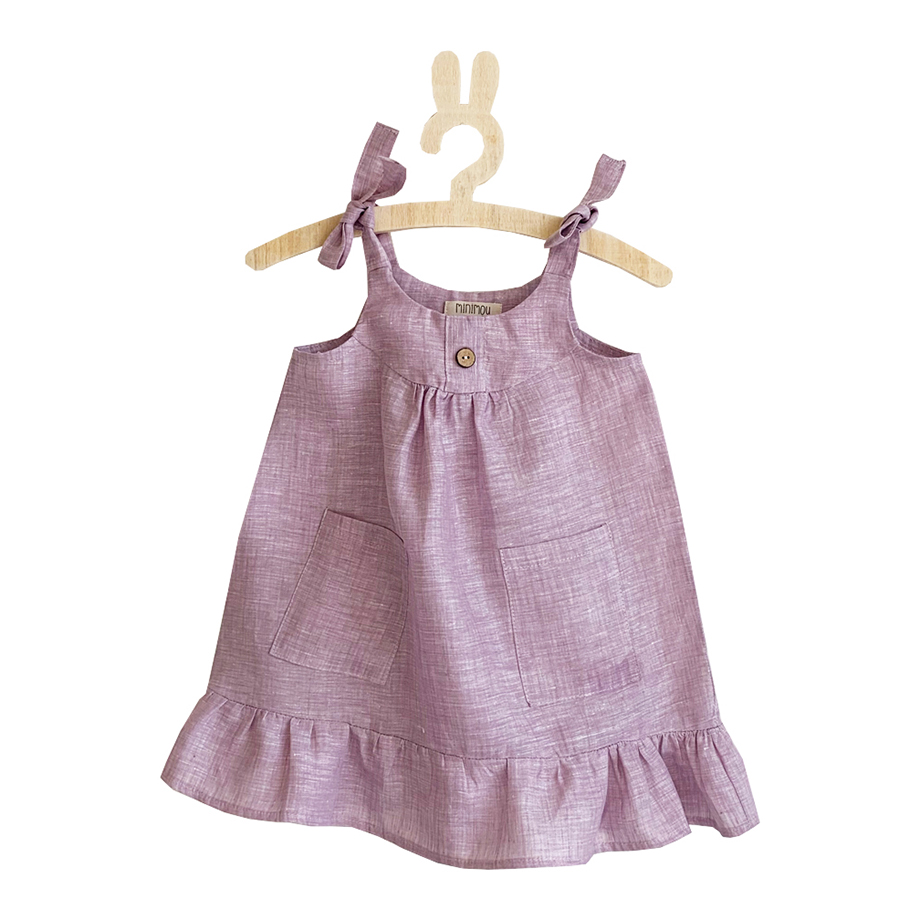 Minimou Kids Linen Dress for Girls Lilac