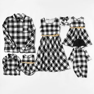 Mosaic Family Matching Plaid Sets(Bowknot Tank Dresses - Plaid Button Front Shirts- Rompers)