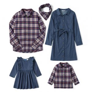 Mosaic Family Matching Cotton Sets(Denim Dresses-Plaid Button Front Shirts-Plaid Scarf)