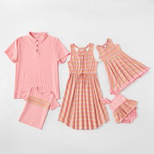 Mosaic Family Matching Pink Stripe Cotton Tank Dresses - Rompers - Tops