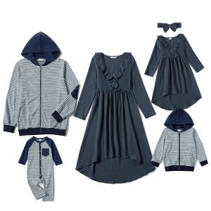 Mosaic 100% Cotton Family Matching Navy Blue Sets(Plaid Hoodies Sweathirts - V-neck Dresses - Rompers)