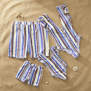 Contrast Stripes Family Swimsuits