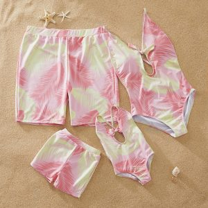 Soft Feather Leaf Family Swimsuits