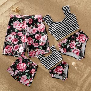 Striped and Floral Print Matching Swimsuits