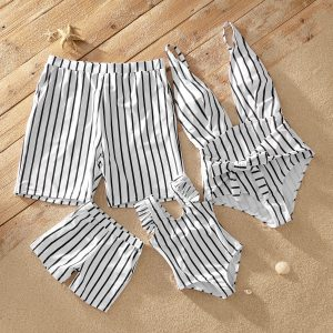 Deep V Striped Matching Swimsuits