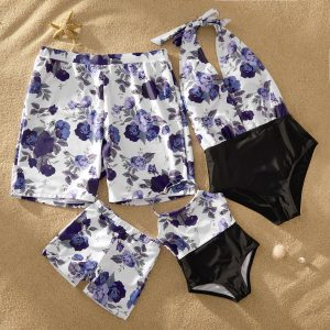 Deep V Rose Print Halter Matching Family Swimsuits