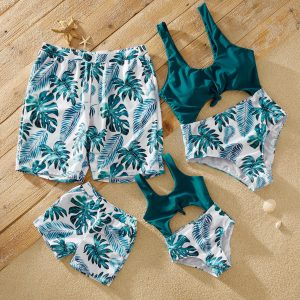 Cut-out Knotted Tropical Plant Print Matching Swimsuits