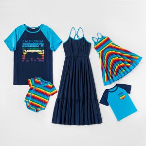 Mosaic Family Matching Coconut Trees Print Rainbow Series Cotton Tank Dresses - Shirts - Rompers