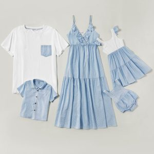 Mosaic Family Matching Pinstripe Blue Series 100% Cotton Tank Dresses Polo shirts and Simple T-shirts