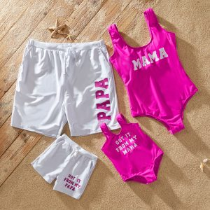 Family Letter Print Matching Swimsuit