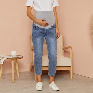 Maternity casual Plain Light Blue jeans