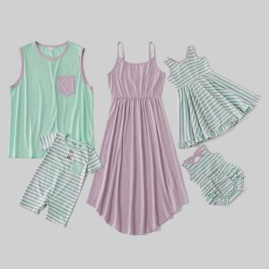 Mosaic Stripe Print Cotton Sets( Solid Tank Dresses - Tops - Rompers )