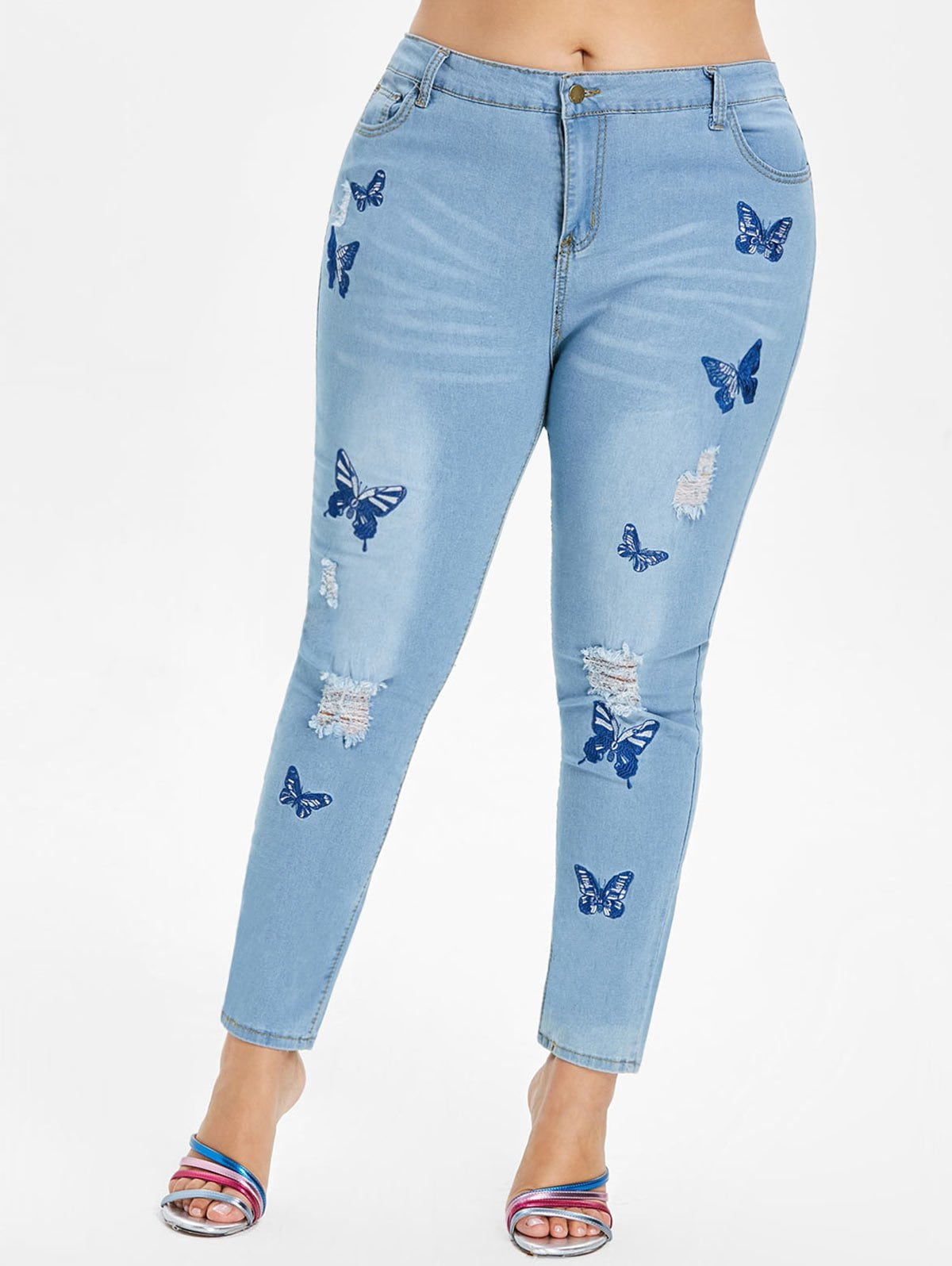 Plus Size Butterfly Embroidered Zipper Jeans
