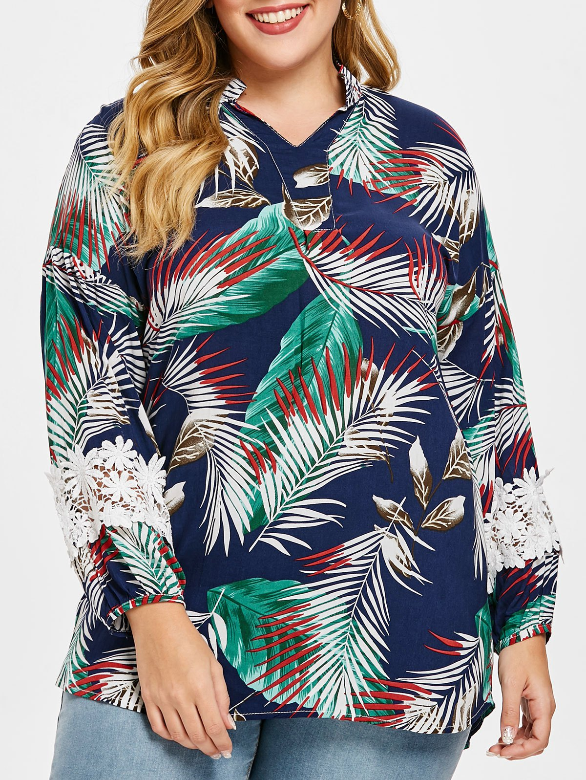 Plus Size V Neck Leaves Print Blouse