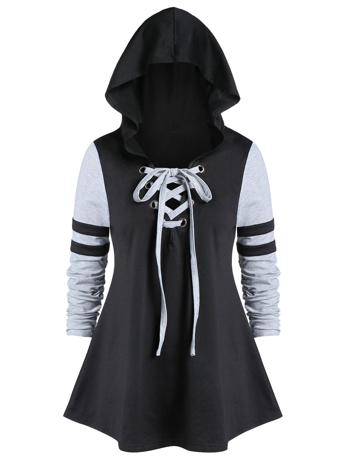 Plus Size Hooded Lace Up Color Block T Shirt