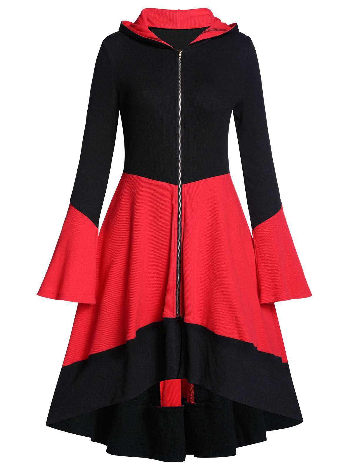 Hooded Two Tone Ribbed A Line Flare Sleeve Coat