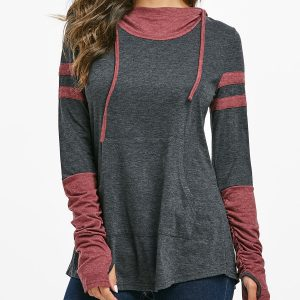 Hooded Kangaroo Pocket Ruched Contrast Heathered T-shirt