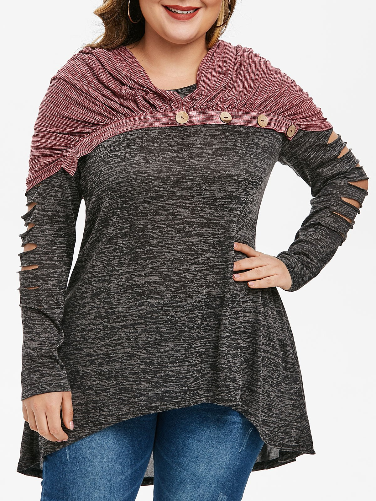 Plus Size Ladder Cut Ripped Marled T Shirt With Button Scarf