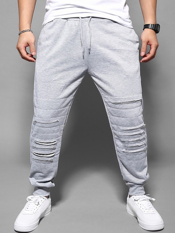 Casual Ripped Drawstring Jogger Pants
