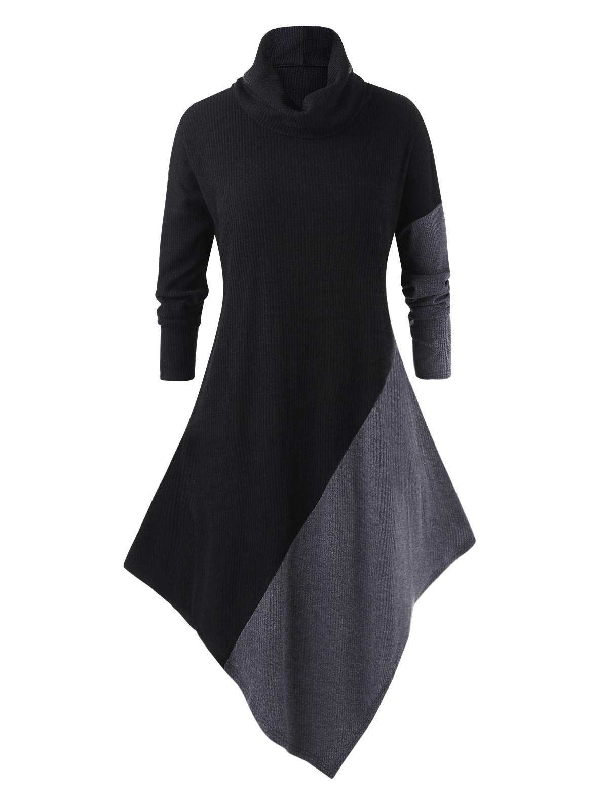 Plus Size Contrast Asymmetrical Longline Sweater