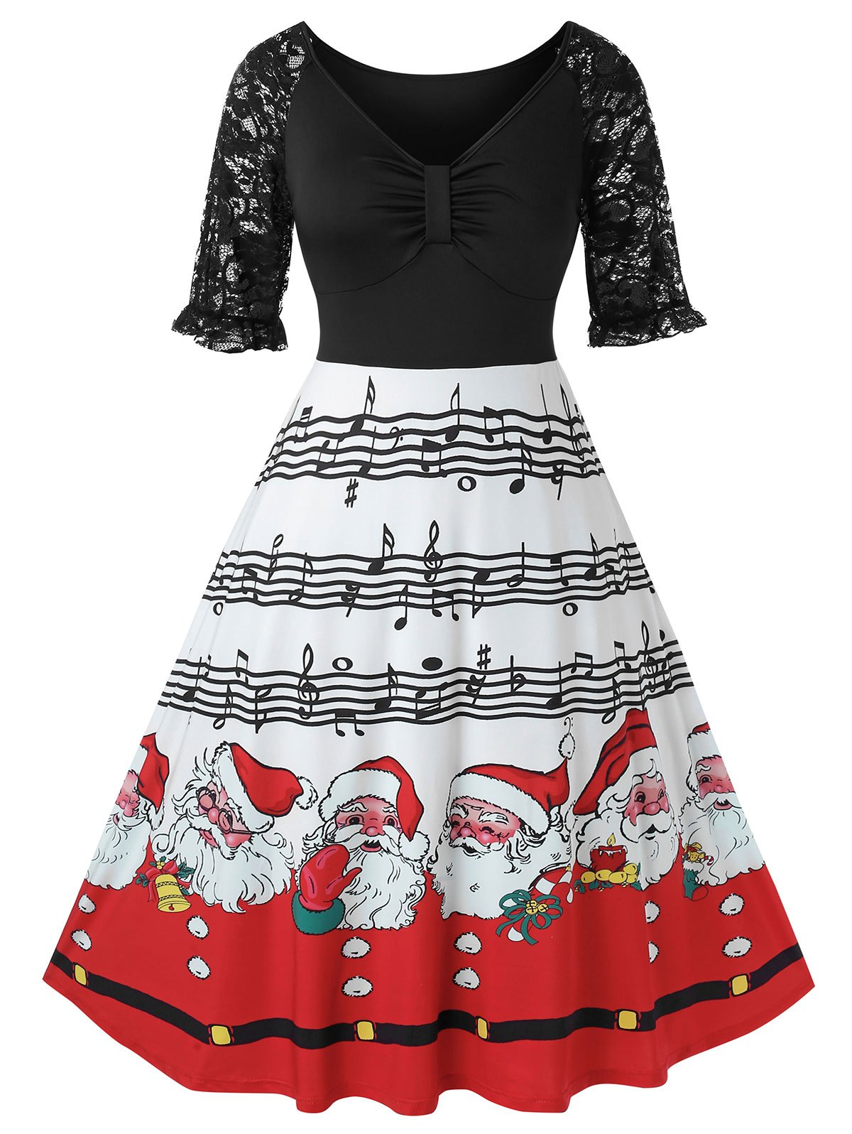 Plus Size Christmas Printed A Line Lace Panel Dress