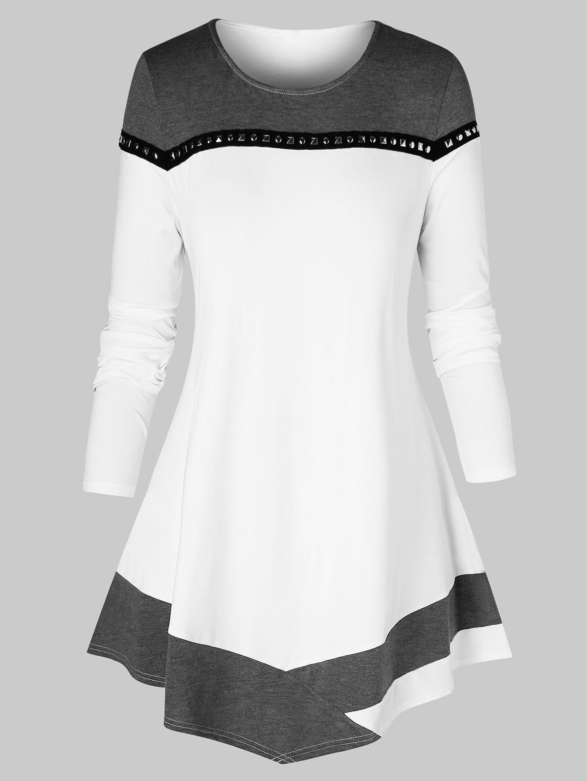 Plus Size Colorblock Studded Long Sleeve T Shirt
