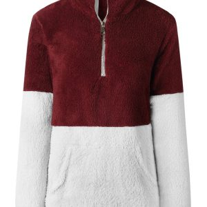 Colorblock Kangaroo Pocket Fluffy Sweatshirt