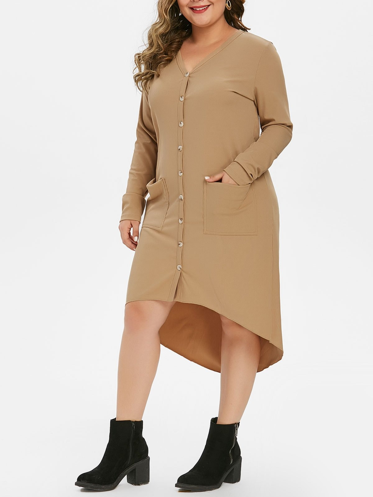 Button Up Pockets High Low Ribbed Plus Size Cardigan