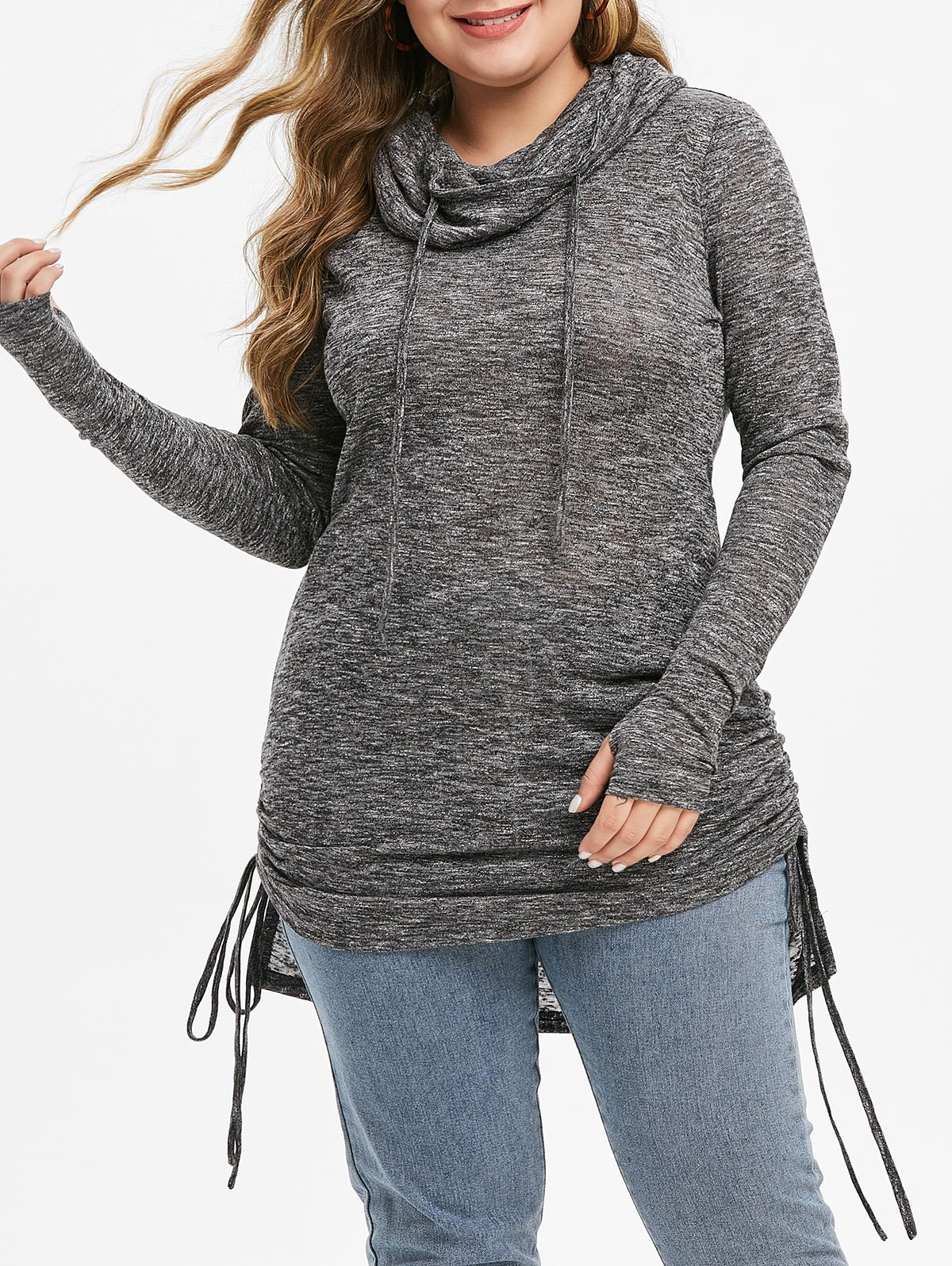 Plus Size Cowl Neck High Low Cinched Knitwear