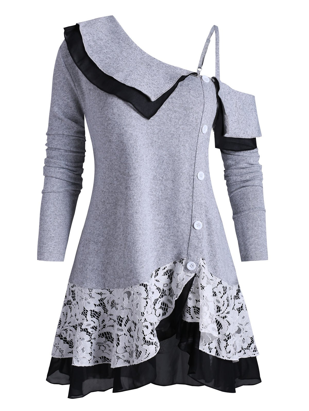 Open Shoulder Buttoned Lace Panel Tiered Plus Size Knitwear