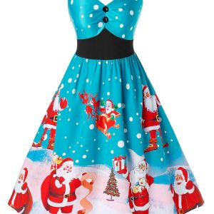 Plus Size Christmas Vintage Santa Claus Print Party Dress