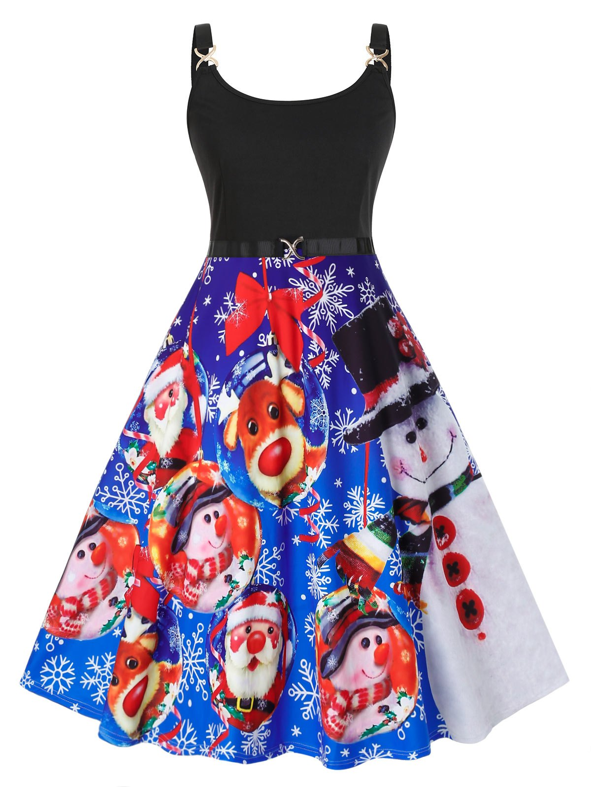 Plus Size Christmas Printed Vintage Swing Dress