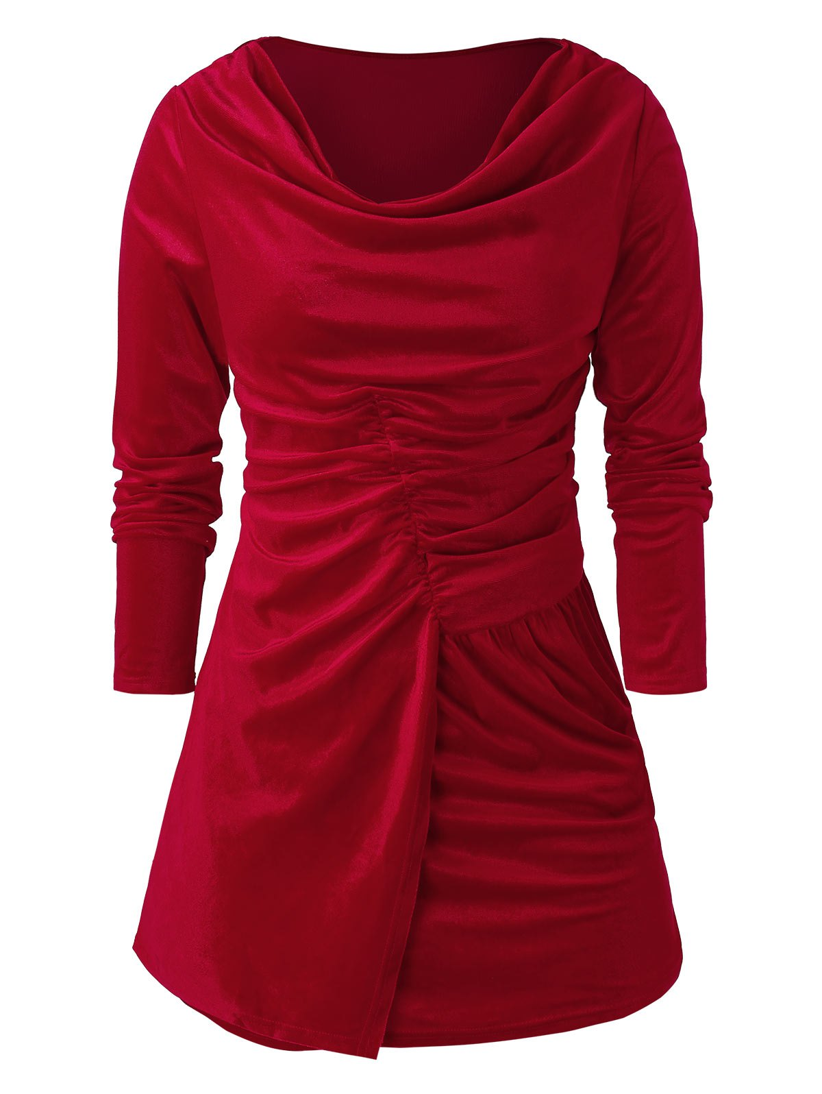 Plus Size Velvet Cowl Collar Solid T Shirt