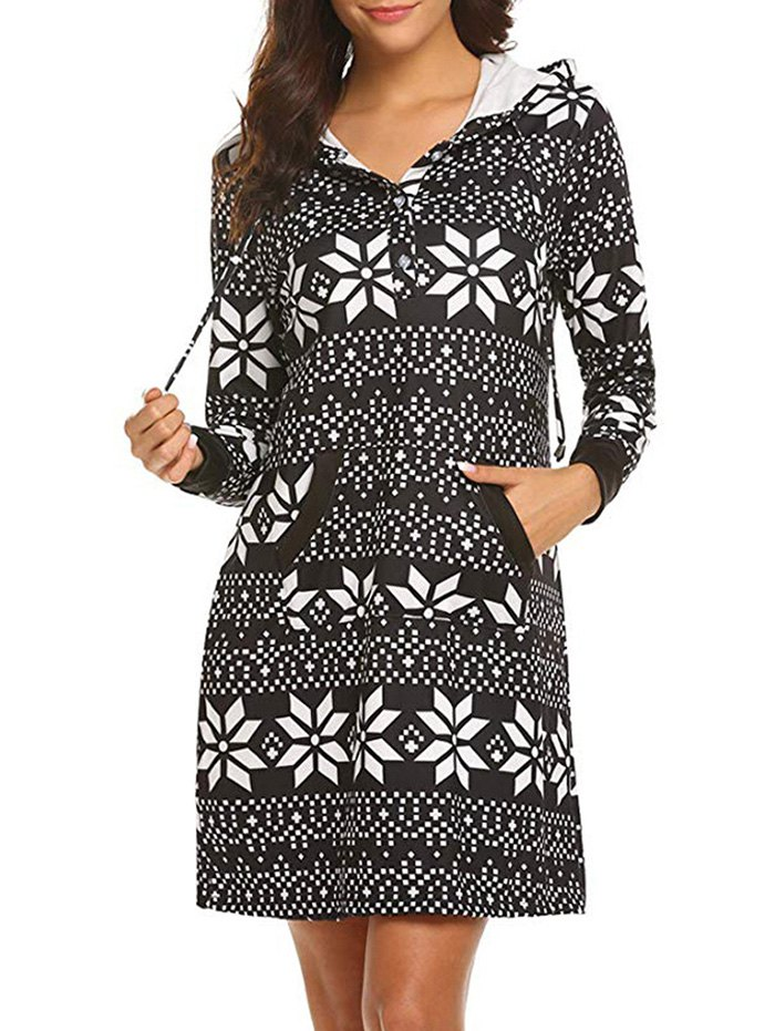 Geo Print Button Placket Hoodie Dress