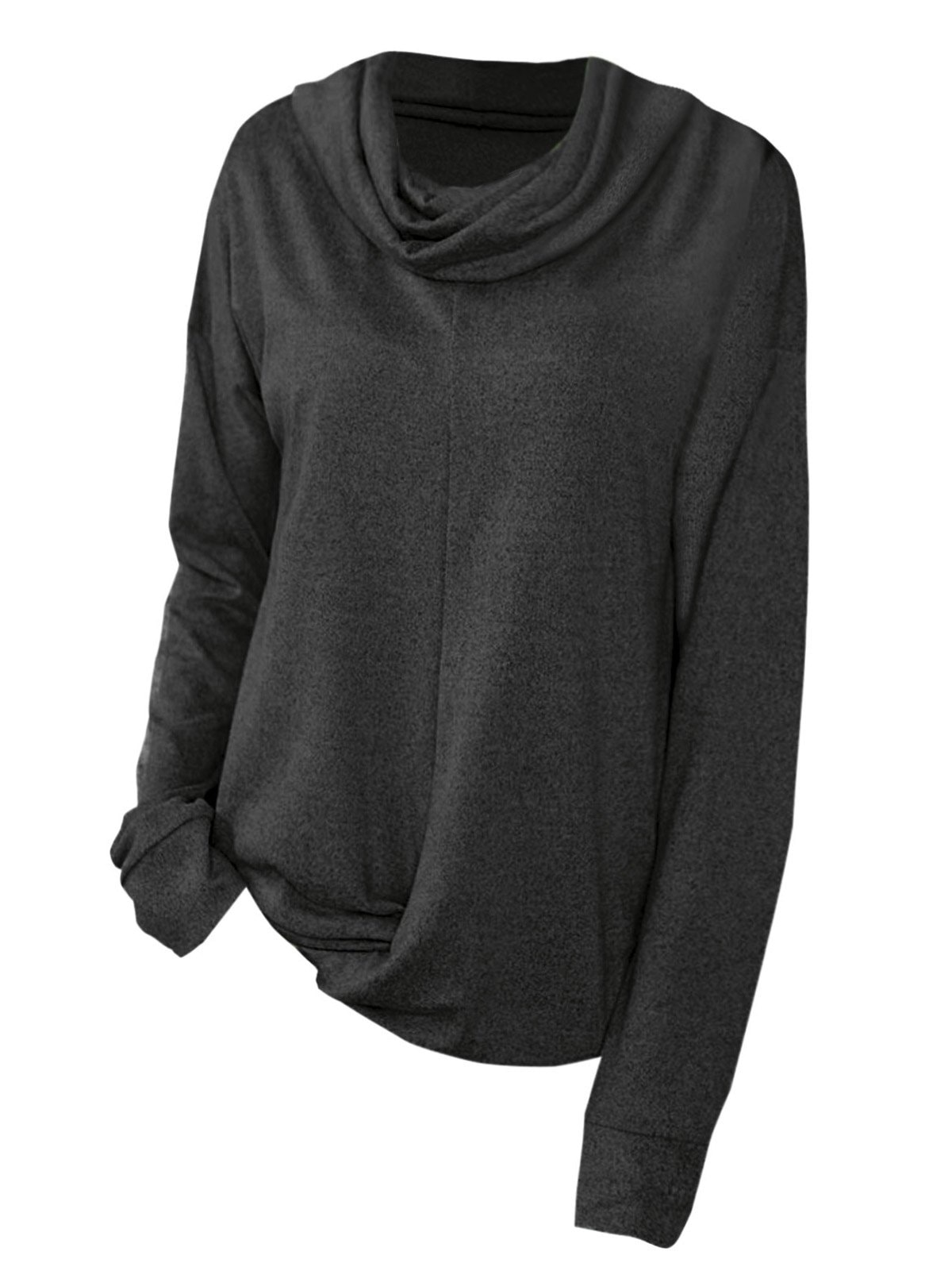 Twist Hem Cowl Neck Plus Size Sweatshirt