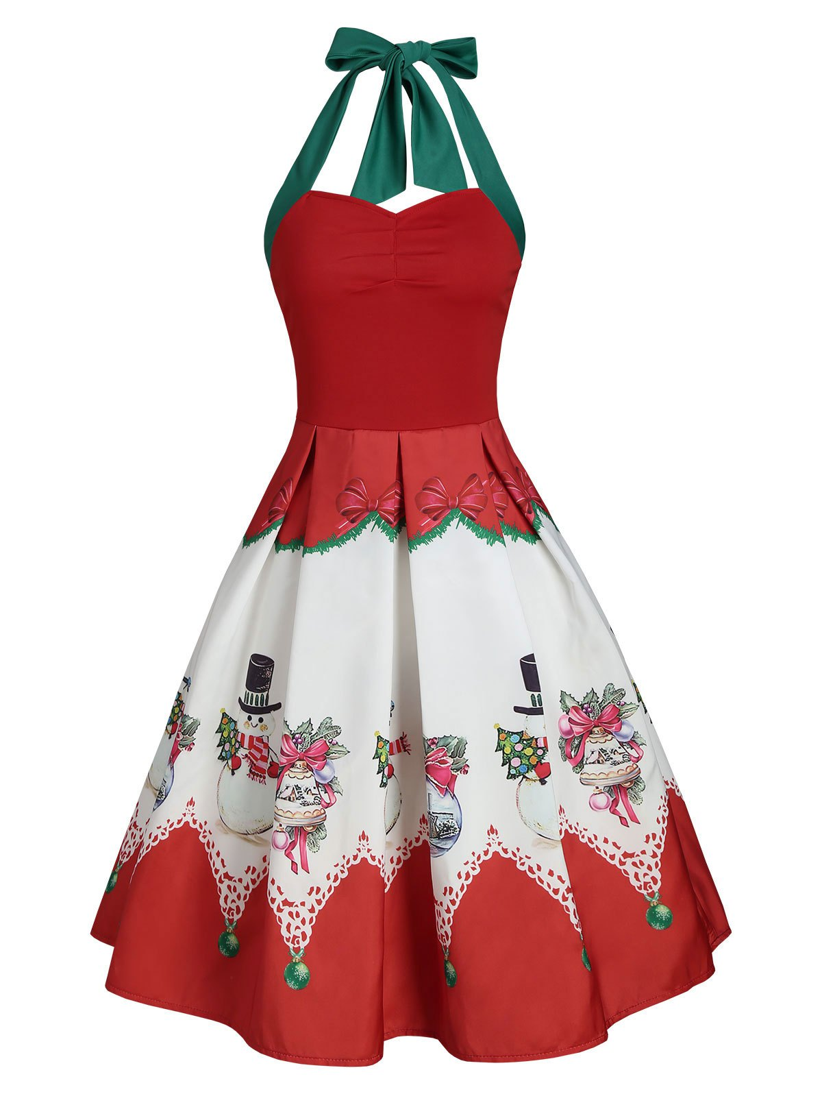 Christmas Snowman Halter Ruched Party Dress