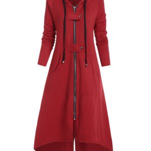 Plus Size Buckle High Low Long Coat