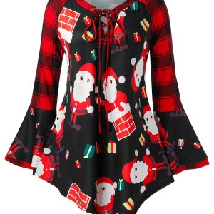 Plus Size Plaid Bell Sleeve Santa Claus Print Christmas T Shirt