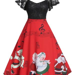 Christmas Santas Musical Notes Print Lace Panel A Line Dress
