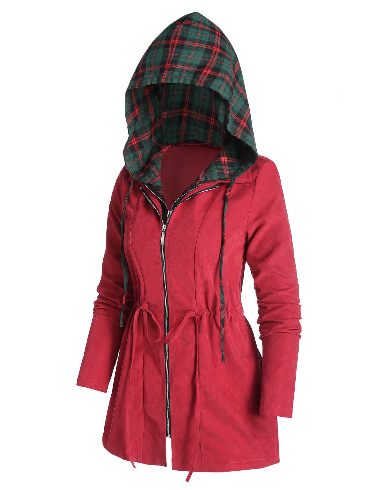 Drawstring Hooded Plaid Coat