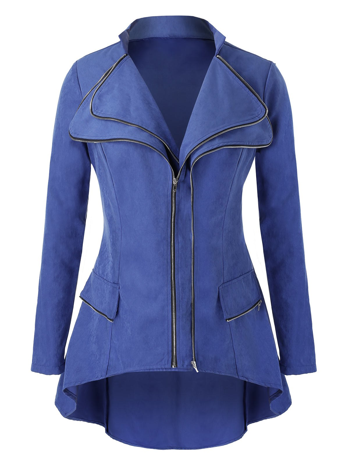 Plus Size Double Zipper High Low Jacket