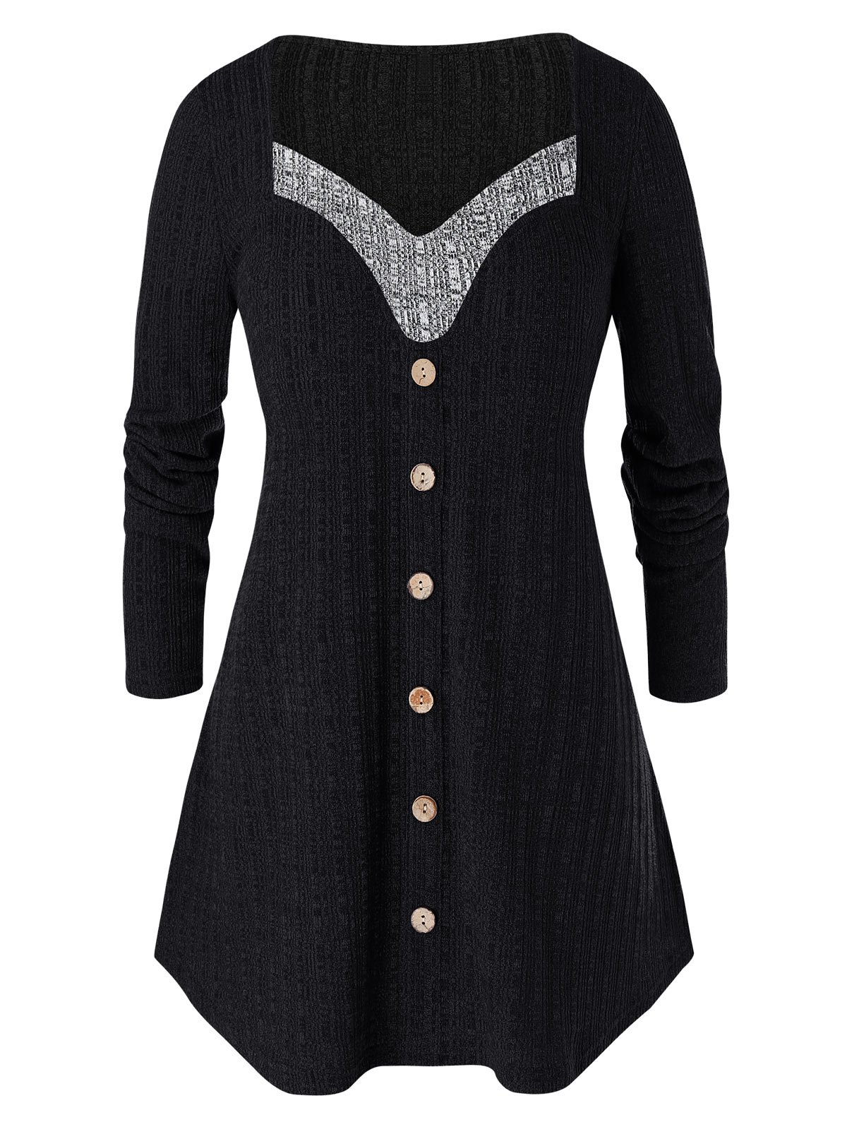 Plus Size Contrast Sweetheart Collar Button Sweater